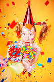 Funny clown - animator. Royalty Free Stock Images
