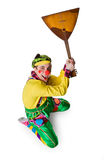 Funny clown with a balalaika Stock Image