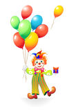 Funny clown with balloons and gift