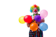 The funny clown with balloons isolated on white background Royalty Free Stock Images