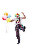 The funny clown with balloons isolated on white background Stock Photography