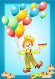 Funny clown with balloons, mask, noise maker and p Stock Images