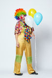Funny clown with balloons on white Royalty Free Stock Photo
