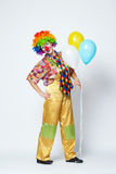 Funny clown with balloons on white Royalty Free Stock Image
