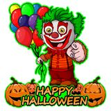 The funny clown with balloons wishes happy halloween on isolated white background. File in layers and editable vector illustration