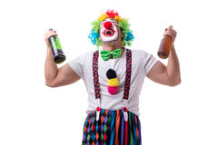 The funny clown with a bottle isolated on white background Stock Photography