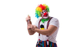 The funny clown with a bottle isolated on white background Stock Photos