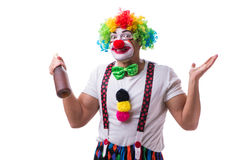 The funny clown with a bottle isolated on white background Royalty Free Stock Photo