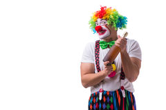 The funny clown with a bottle isolated on white background Royalty Free Stock Photography