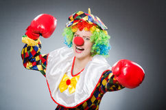 The funny clown with boxing gloves Royalty Free Stock Photos