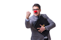 The funny clown with briefcase on white Stock Photo