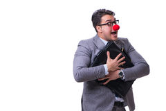 The funny clown with briefcase on white Royalty Free Stock Image
