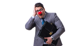 The funny clown with briefcase on white Royalty Free Stock Images