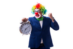 Funny clown businessman with an alarm clock isolated on white ba Royalty Free Stock Photography