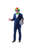 Funny clown businessman with an alarm clock isolated on white ba Royalty Free Stock Photos