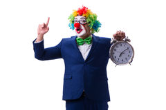 Funny clown businessman with an alarm clock isolated on white ba Stock Photography