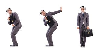 The funny clown businessman with briefcase. Funny clown businessman with briefcase stock photography