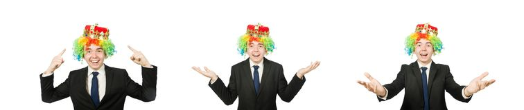 Funny clown businessman isolated on white. The funny clown businessman isolated on white royalty free stock photos