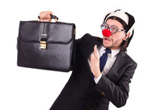 Funny clown businessman isolated Royalty Free Stock Photo