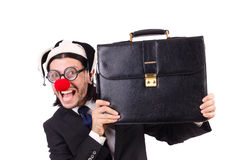 Funny clown businessman isolated Stock Image