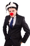 Funny clown businessman isolated Stock Photography