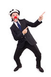 Funny clown businessman isolated Royalty Free Stock Image