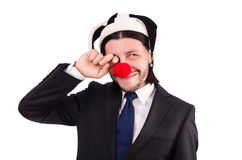 Funny clown businessman isolated Royalty Free Stock Photos