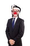 Funny clown businessman isolated on the white Royalty Free Stock Photos
