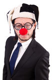 Funny clown businessman isolated on the white Stock Photography