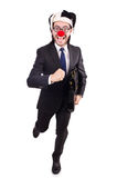 Funny clown businessman isolated on the white Stock Photo
