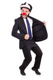 Funny clown businessman isolated on the white Royalty Free Stock Images
