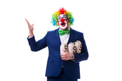 Funny clown businessman with money sacks bags isolated on white Stock Images