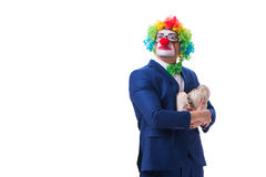 Funny clown businessman with money sacks bags isolated on white Royalty Free Stock Photography