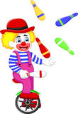 Funny clown cartoon playing balls on bicycle Royalty Free Stock Photos