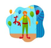 Funny Clown Character and Circus Stage Accessories vector illustration