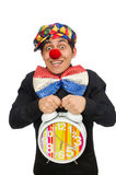 The funny clown with clock isolated on white Stock Photo