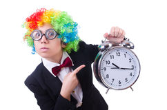 Funny clown with clock Stock Photos
