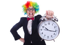 Funny clown with clock Stock Images