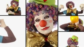 A funny clown, collage stock video footage