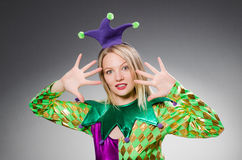 Funny clown in colourful Stock Photography