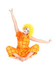 Funny clown in costume and make-up Stock Images