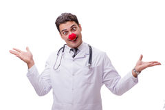 The funny clown doctor isolated on the white background Stock Photo