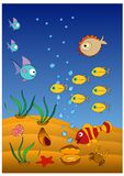 Funny clown fish and hedgehog fish swim. In the blue sea stock illustration
