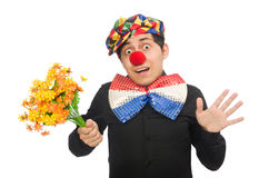 The funny clown with flowers isolated on white Stock Photo