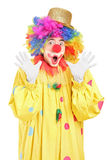 Funny clown gesturing with hands. Isolated on white background Royalty Free Stock Photos