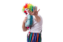 The funny clown with a gift present box isolated on white background Royalty Free Stock Photo