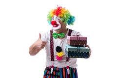 The funny clown with a gift present box isolated on white background Stock Photo