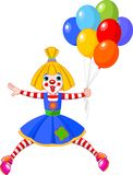 Funny Clown Girl. The funny clown girl jumping with balloons. Vector illustration Stock Images