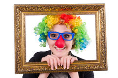 Funny clown girl with frame isolated Royalty Free Stock Images