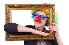 Funny clown girl with frame isolated Stock Photo